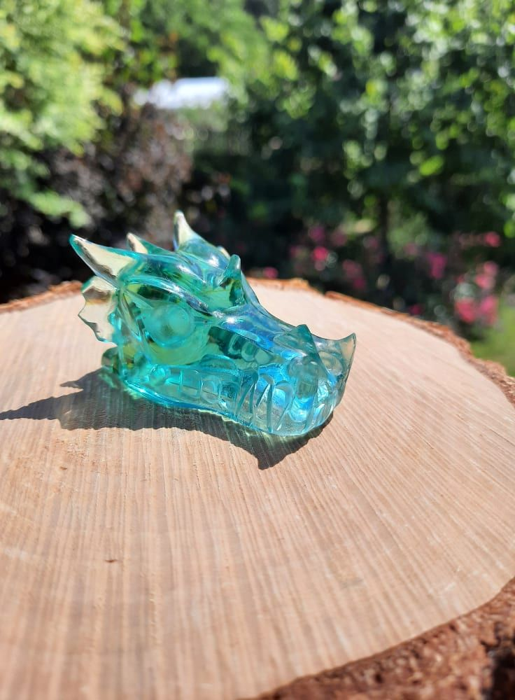 Drak/Dragon/Drache Modry Obsidian Sklo/Blue Obsidian 5cm