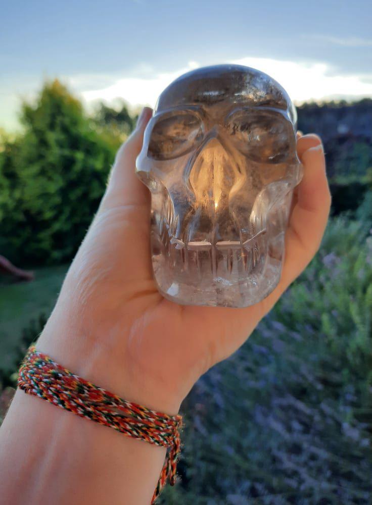 Lebka/Skull/Schädel Zahněda Křistál/Smokey Quartz 10cm