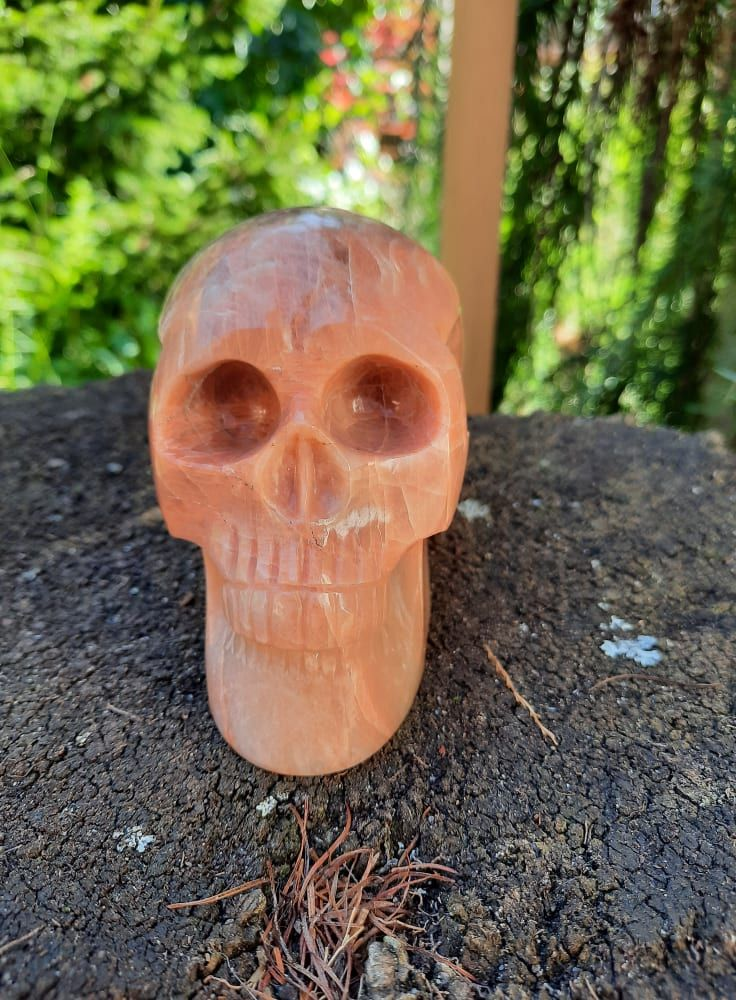 Lebka/Skull/Schädel Měšicni kámen/Moon stone/Mond Stein 10cm