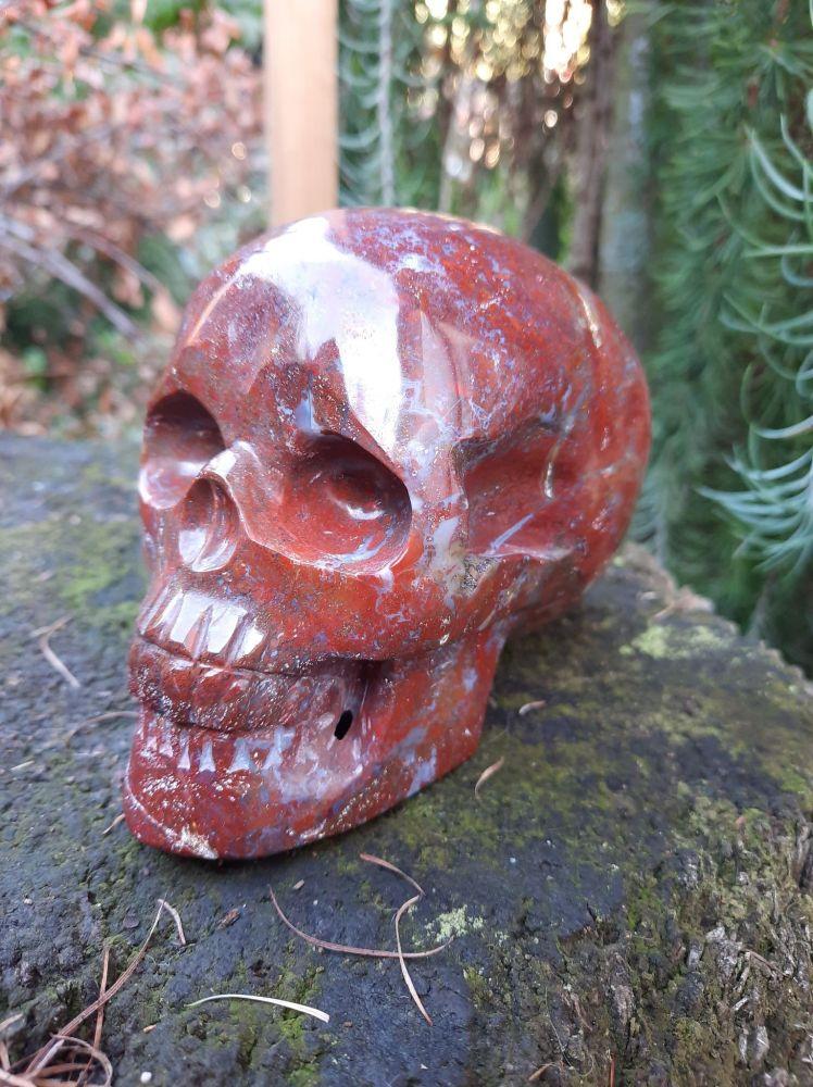 Lebka,Skull,Schädel Bláznivý Krajka Červeny Achát /Red Crazy Lace Agate XL 9cm