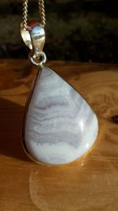 Blue Lace Agate pendant im Silber,Střibro kulaty/round 4cm
