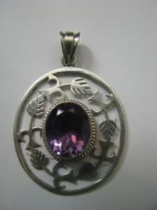 Big Oval Pendant with Amethyst