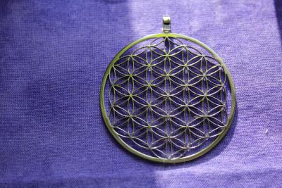 Flower of life pendant silver colour 45 mm