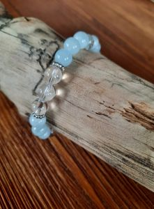 Bangle Aquamarine with Crystal star sign Gemini