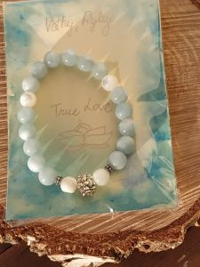 Bangle Pearl with Aquamarine/Pisces and Libra